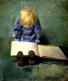 """""""There are perhaps no days of our childhood we lived so fully as those spent with a favorite book."""" ~Marcel Proust (Little Eber Reading CHRISTIAN KROHG c. 1925 NORWEGIAN)"""