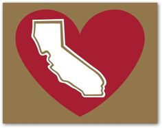 San Francisco 49ers Gold And Red California Heart Decal. $1.95, via Etsy.
