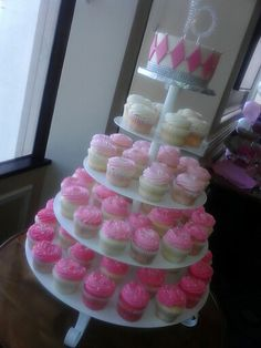 """Pink """"Sweet 16"""" Cake and Cupcakes"""