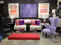 Original abstract art in a striking color combination inspired this fantastic living room setting.  I could see this room in any of our favorite shelter magazines!  Festoni (Suites at Market Square G-4000) (www.festoni.com) #hpmkt #stylespotters