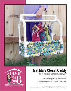 Pixie Faire AptOne8 Matilda's Closet Caddy PVC Pattern for 18 inch American Girl Dolls - PDF by PixieFairePatterns on Etsy (null)