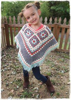 Girls Flower Poncho-Kids-Fall Fashion-Crochet Granny Square-Fringe-Ages 5-8