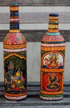 indian handicrafts pattachitra - bottleart