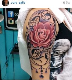 WOW STUNNING AMAZING ARTIST ROSES FLOWER TATTOO LACE TATTOO PINK PERFECT 3D