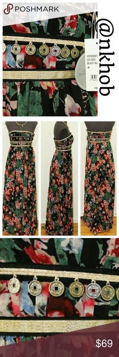 Pearl Georgina Chapman Maxi Coin Dress Beautiful floral print with gold and faux coin accent, strapless dress. Black background! NWT Georgina Chapman Dresses Strapless