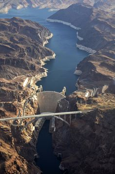 Hoover Dam. We have not seen the new bridge yet (in the foreground). The old road took you across the dam itself.