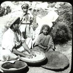 Ramallah-رام الله: Woman of Ramallah kneading, 1890s