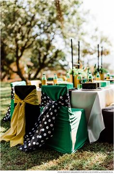 Kids party table in a green and gold theme on a farm setting Go Bokke, Kids Party Tables, South African Flag, Car Themed Parties, Party Co, Blog Online, Candy Table, 7th Birthday, Green And Gold