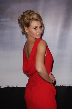 Aly Michalka booty in a sexy red dress
