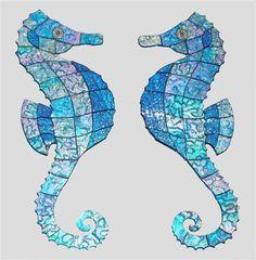 Glass Mosaic Seahorse aqua agean sea