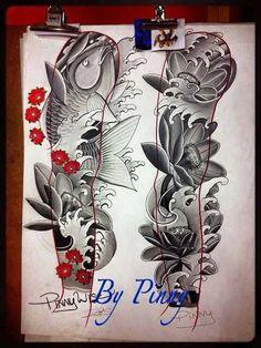 Full Arm Tattoos Japanese, Japanese Tattoo Art, Japanese Tattoo Designs, Japanese Sleeve Tattoos, Chest And Back Tattoo, Tribal Forearm Tattoos, Mangas Tattoo, Shoulder Armor Tattoo, Lotus Tattoo Design