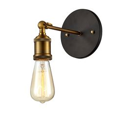 Edison Vintage Light Sconce With Bulb, Antique Brass