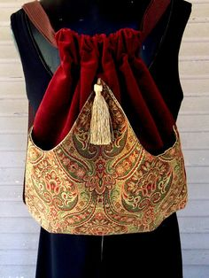 Backpack Brick Red Velvet and Gold Tapestry Boho Backpacks Tapestry sling bag Brick Red Velvet cinch bag tapestry book bag Handmade Accessories, Bag Accessories, Diy Sac, Cinch Bag, Look Boho, Bohemian Style, Boho Bags, Fabric Bags, Diy Bags