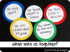 Olympic Rings, good back to school Olympic themed activities