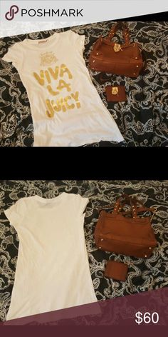 The Oh, So Juicy Bundle! Full disclosure...this Juicy Bag and wallet were loved and worn a lot! However they are still in good condition and still turn heads. The cotton t-shirt is basically new. Enjoy this bundle and the great prices that reflect the use. Juicy Couture Bags Shoulder Bags