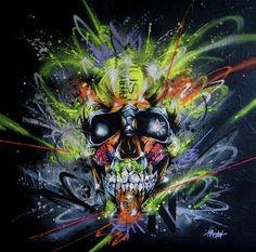 Neon Poster Print by Taka Sudo Fantasy Art Magical by Room Modern Pop Skeleton Graffiti Teen Boys Skull Kids Unique for Teens