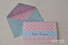 Cartão duplo com envelope forrado – Damask rosa e azul  :: flavoli.net - Papelaria Personalizada :: Contato: (21) 98-836-0113 vendas@flavoli.net