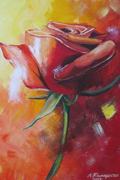 """Rose. Mixed media technique on canvas. 40 x 30 cm. 16"""" x 12"""".  Эта интерьерная картина, выполненная в смешанной технике на холсте, украсит ваш дом или офис и станет изысканным  подарком к любому празднику  . Размер картины 40 х 30 см. ."""