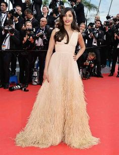 Freida Pinto wears Micheal Kors at The Disappearance of Eleanor Rigby premiere during the 67th Annual Cannes Film Festival.