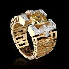 Ring Men's collection. Yellow gold, Yellow sapphire + diamonds