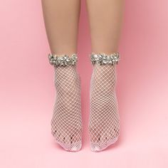 White Crystal Fishnet Ankle Socks for Women Fishnet Ankle Socks, Sheer Socks, Lace Socks, Ankle High Socks, Fishnet Stockings, Ankle Highs, Stocking Stuffers For Women, Beautiful Toes, Feet Soles