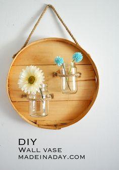 DIY Round Wall Vase with Jars madeinaday.com
