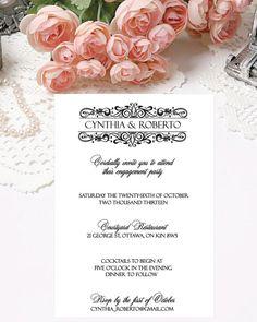 Printable Wedding Invitation Printable Invitations Digital Invitations by PapierCouture