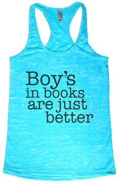 "Baffle ""Boys In Books Are Just Better"" Tahiti Blue Womens Tank - Black Text (Small )"