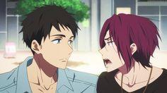 Sousuke Yamazaki & Rin Matsuoka gif (I feel like it's a rare sight to see Sousuke to smiling like that)