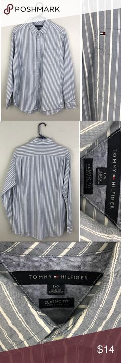 "Tommy Hilfiger Classic Fit Blue White Button Up Tommy Hilfiger Classic Fit Blue White Button Up. Size Large.   •Chest: 49"" Length: 30"" •VGUC, no visible flaws.  Please feel free to comment with any questions (no trades/modeling). 15% off all Bundles or 2+ items! Reasonable offers welcome. Tommy Hilfiger Shirts Casual Button Down Shirts"