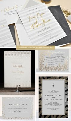 Gorgeous, Gold Foil Wedding Invitations as seen on invitationcrush.com