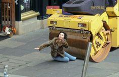 "#90 – Scarlett Johansson and a steamroller Source:twitter.com/IIRETOII""Had to do this. 'Scarlett Johansson falling down'"