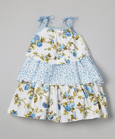 Baby Blue Floral Tiered Tie Dress - Infant, Toddler & Girls