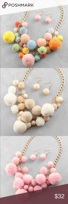 """Pom Pom trendy necklace Price is for 1 necklace.             17""""L Polished Metal Pom Pom and Beads Lobster Clasp Closure Matching Earrings Included. ❤This necklace will be marked down to $23 this weekend so lemme know if u want it❤ Jewelry Necklaces"""