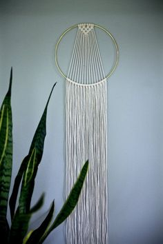 "Macrame Dream Catcher Hoop Wall Hanging - 55"" Natural White Cotton Rope w/ 10"" Brass Ring - Sunburst - Boho Home, Nursery, Wedding Decor"