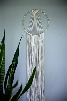 "Macrame Dream Catcher Hoop Wall Hanging - 55"" Natural White Cotton Rope w/ 10"" Brass Ring - Sunburst - Boho Home, Nursery, Wedding Decor"