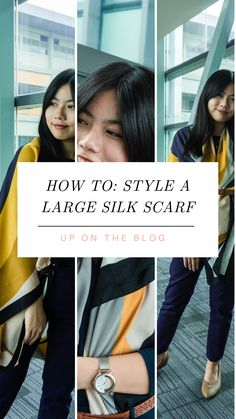 3 Ways To Wear a Large Silk Scarf - Midget Fidgets Business Outfits, Business Attire, Job Interview Attire, Travel Attire, Lounge Outfit, Petite Fashion, Beauty Hacks, Skin Care, Group