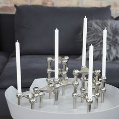 STOFF candlestick modules in nickel or brass. Just Right, DK.