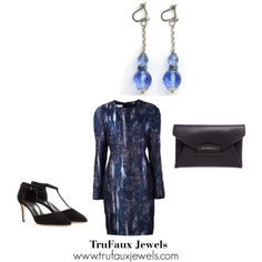 """""""Wearing Statement Earrings in the Evening"""": Bring out the blues in this colorful silk dress with these lovely vintage Art Deco blue crystal bead earrings."""