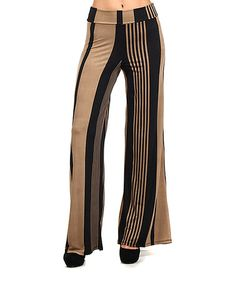I LOVE palazzo pants! It feels like wearing barely-there pajamas! Taupe & Black Stripe Palazzo Pants by Pretty Young Thing #zulily #zulilyfinds