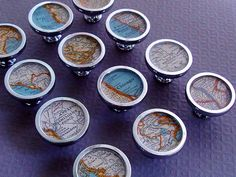 Custom Made Custom 1935 Collier's Atlas Vintage Map Drawer Pulls or Cabinet Knobs by sherry truitt studios