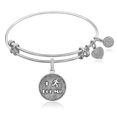 Expandable Bangle in White Tone Brass with I Run For Me