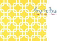 yellow white chic fabric chain link trellis pattern