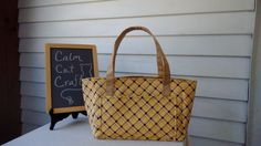 A personal favorite from my Etsy shop https://www.etsy.com/listing/475044041/yellow-plaid-half-size-tote-bag-handbag