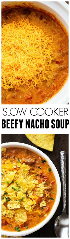 This Slow Cooker Beefy Nacho Soup is all of the goodness of cheesy nachos packed right into this soup! It is insanely good!