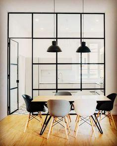 Pin by noriko morita on dining room раздвижные двери, кухня, Office Interior Design, Office Interiors, Kitchen Interior, Interior Styling, Office Space Design, Minimalistic Design, Steel Doors And Windows, Rustic Loft, Rustic Modern