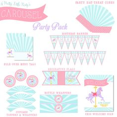 CAROUSEL Party Pack   Merry go Round Party Digital files