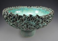 Large turquoise serving/fruit bowl  - Pietsch Pottery