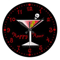 "This fun and whimsical custom wall clock is perfect for Goth bar or Halloween party. It has a big bloody martini in the center. The olives have tortured expressions on their faces, and the top of the toothpick has a smiling skull. The clock has red dots for the minutes and hours and red numbers.It says, ""Happy Hour"" in a fun, red font. You can change this in the template to personalize. Click customize to change the font style or color. You can change the background color if you want to ..."