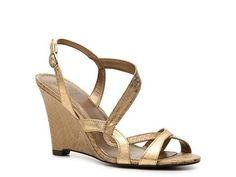 bridesmaid shoe...wedge! Heals will sink in the grass...